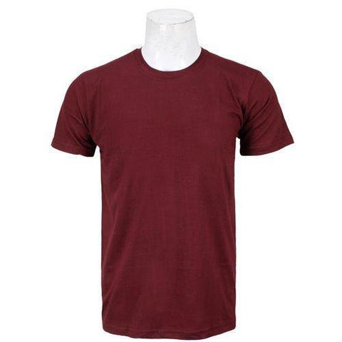 Maroon Solid Round Neck T-Shirt For Men