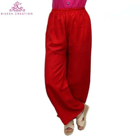Red Solid Rayon Palazzos For Women
