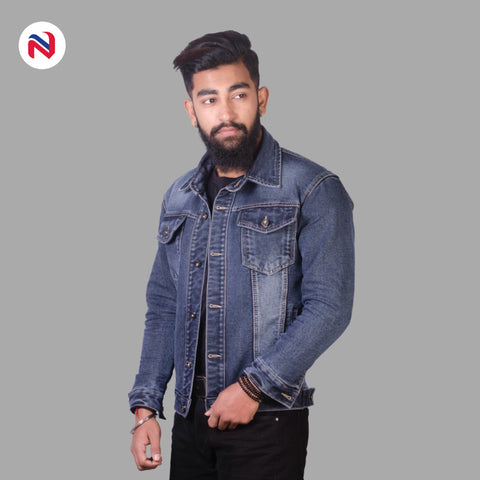 Nyptra Blue Gray Solid Stretchable Denim Jeans Jacket For Men price in nepal