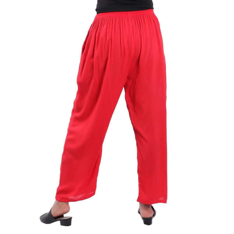 Red Solid Wide Leg Strecthable Pant For Women