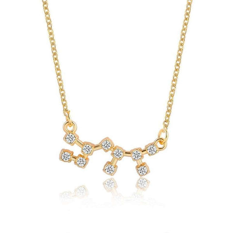 Gold Toned Scorpio Twelve Constellation Patterned Zodiac Sign Necklace For Women price in Nepal