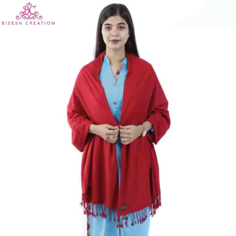 Bisesh Creation Pashmina Plain Solid Shawl For Women