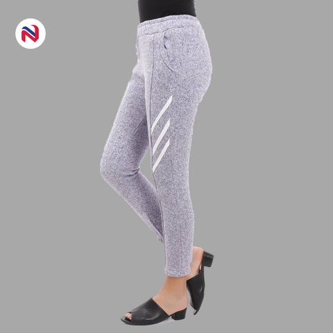 Nyptra Grey Plain/Side Stripes Inner Fleece Joggers For Women