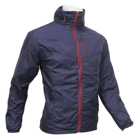 Dark Blue Taffeta Solid Windcheater For Men