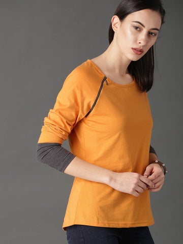 RS Women Orange Solid Round Neck T-shirt Yellow price in nepal