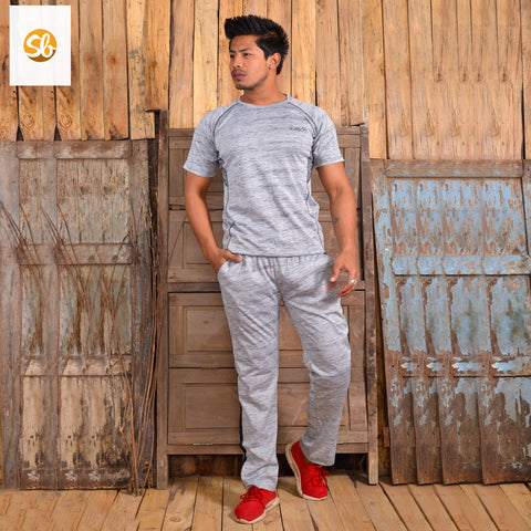 Knitted Cotton Sports Winter T-Shirt And Trouser Set For Men