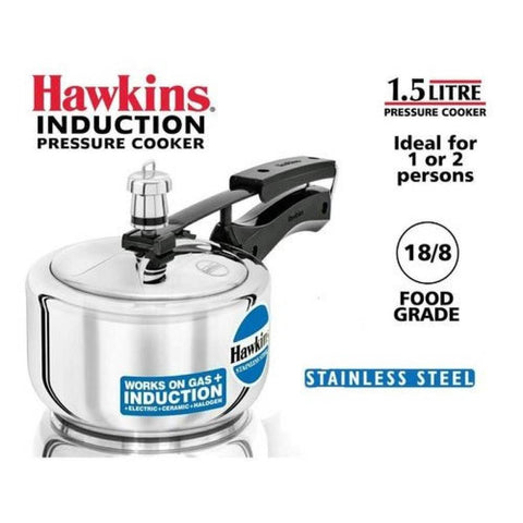 Hawkins Stainless Steel Pressure Cooker (Hss15)- 1.5 Litre