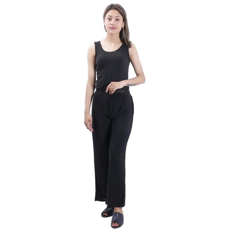 Black Solid Wide Leg Strecthable Pant For Women price in nepal