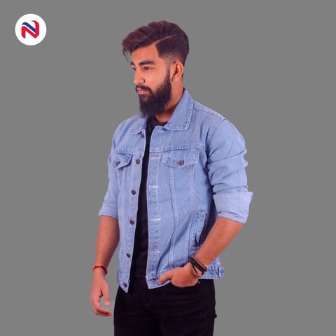 Nyptra Light Blue Solid Denim Jeans Jacket For Men price in nepal