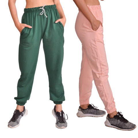 Combo Of Two Pcs Green & Skin Solid Joggers For Women price in nepal
