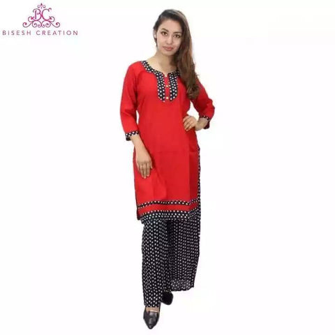 Bisesh Creation Red/Black Polka Dot Alpine Kurti and Palazzo Set For Women price in Nepal