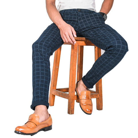 Virjeans Stretchable Cotton Check Blue Chinos Pant For Men (Vjc 714) 3