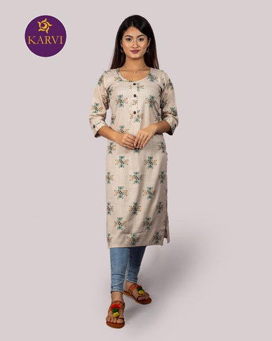 KARVI Beige Ethnic Printed Kurti for Women with Front Button price in Nepal