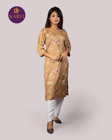 KARVI Beige Leaf Printed with Golden Beads Handwork Kurti for Women price in Nepal