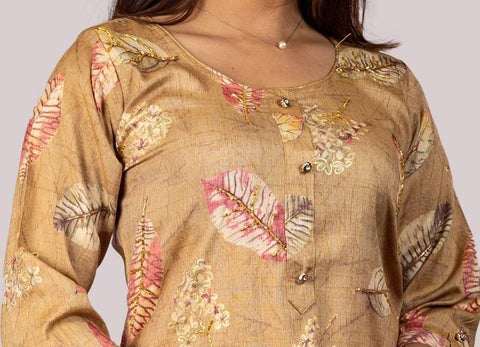 KARVI Beige Leaf Printed with Golden Beads Handwork Kurti for Women