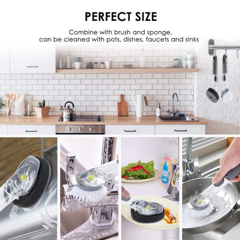 Kitchen Cleaning Brush Scrubber Dish Bowl Washing Long Handle Sponge With Refill Liquid Soap Dispenser Pot Cleaner Tool With White Wok Brush price in Nepal
