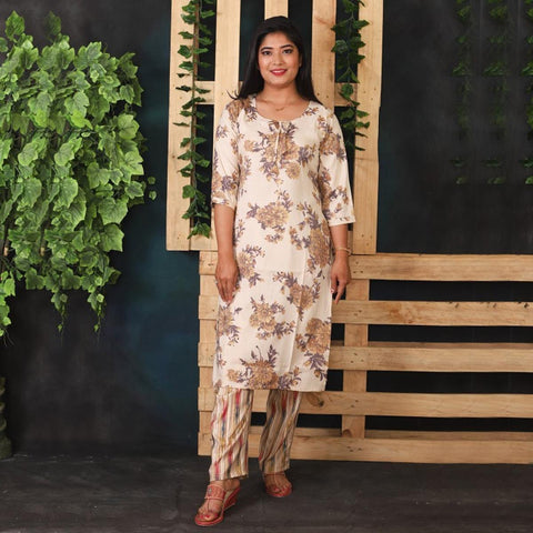 Brown Beige Floral Print Kurti with Striped Pant Set for Women price in Nepal