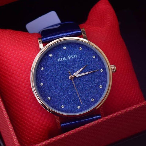 BOLANO Colorful Crystal Dial Fashion Leather Watch