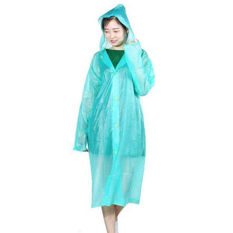 Multicolored Blue Waterproof Clear PVC Raincoat (Unisex)