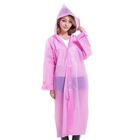 Multicolored Pink Waterproof Clear PVC Raincoat (Unisex)