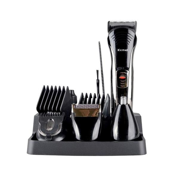 Kemei KM-590A 7 In 1 Electric Grooming Beard Hair Cutting Nose Trimmer Shaver Kit