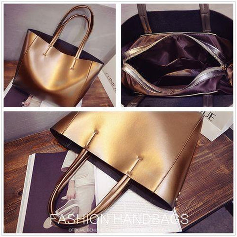 41001394 Korean Design High Quality Silver Gold Black Color Pu Leather Shoulder Bag for Women