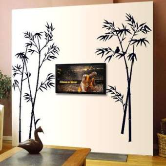 Black Bamboo Single Color Leaves Tree Branch Wall Décor