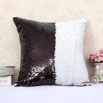 Black/White Sequin Embellished Cushion
