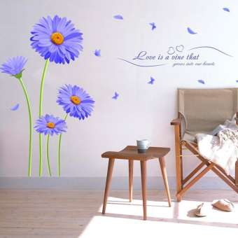 Blue Flowers And Butterflies Decor Wall Stickers (mws017)