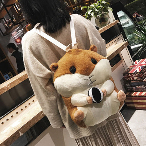 41001942 Cute Multi-Function Plush Toy Doll Pillow Winter Backpack