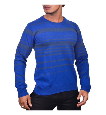 SA LANA Knit Blue/Grey Round Neck Horizontal Stripe