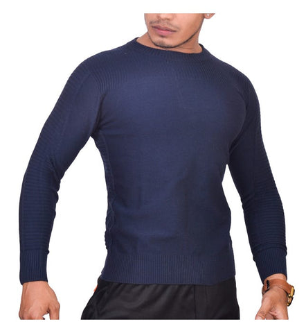 SA LANA Knit Navy Men's Round Neck Sweater