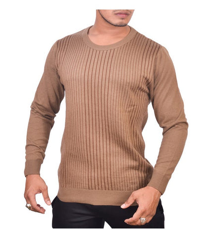 SA LANA Knit Brown/D.Brown Round Neck With Vertical Stripe