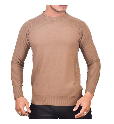 SA LANA Knit Brown Round Neck With Plain Vertical Band