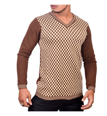 SA LANA Knit Brown/Beige V-Neck With Lining On V
