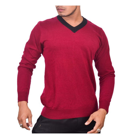 SA LANA Knit Burgundy V-Neck With Lining