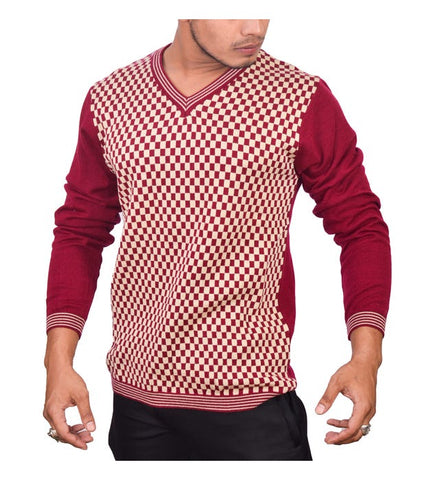 SA LANA Knit Burgundy/Beige V-Neck With Lining On V