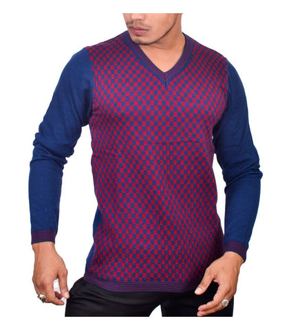 SA LANA Knit Navy/Burgundy V-Neck With Lining On V