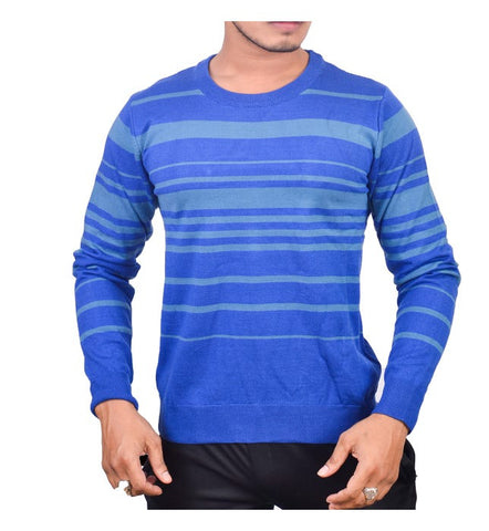 SA LANA Knit Blue/Indigo Round Neck Horizontal Stripe