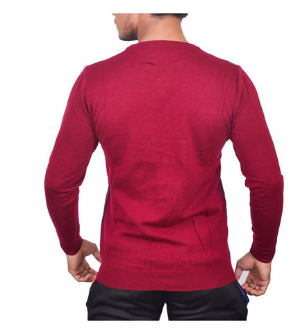 SA LANA Knit Burgundy/Navy Round Neck With Vertical Stripe