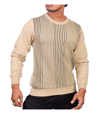 SA LANA Knit Beige/Black Round Neck With Vertical Stripe
