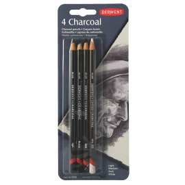 Derwent Charcoal Pencil Set of 4 Blister