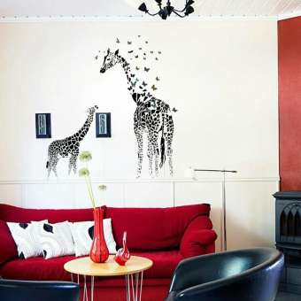 Giraffe Butterfly Diy Vinyl Wall Stickers
