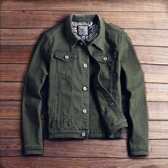Green Slim Fit Denim Jacket For Men