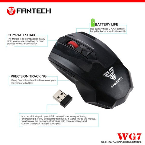 Fantech GAREN WG7 Wireless Gaming Mouse [BLACK]