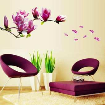 Peach Purple Bud Flower Wall Sticker