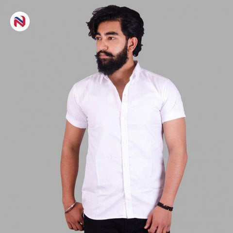 White Half Sleeves Cotton Shirt For Men By Nyptra