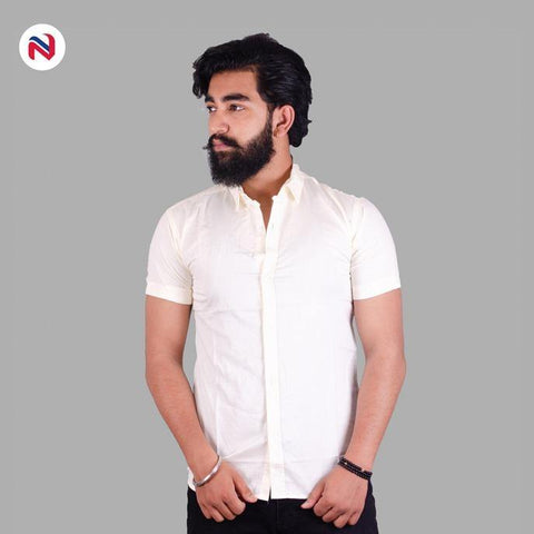 Light Yellow Half Sleeves Cotton Shirt For Men By Nyptra
