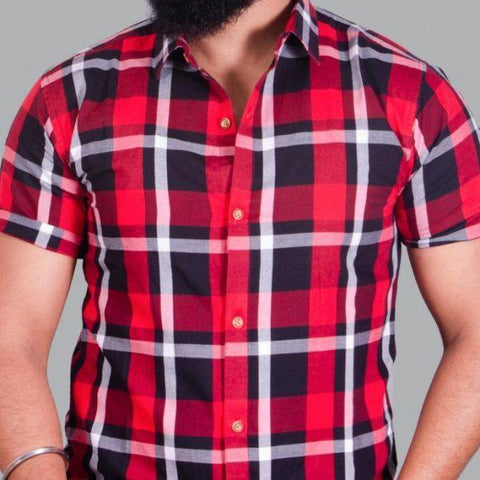 Nyptra Red Half Sleeves Premium Cotton Check Shirt For Men