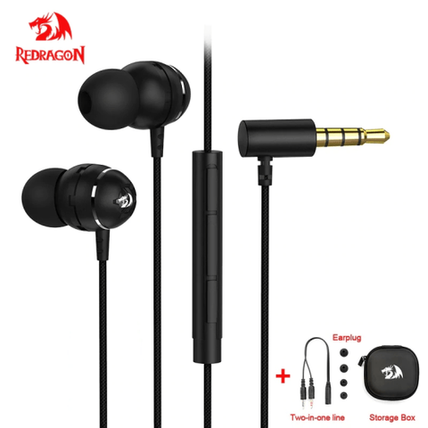 Redragon BOMBER PRO E100 IN-EAR 3.5mm GAMING HEADSET Earphone Earbud Heavy Bass Mircophone Compatible with PS4 pc computer
